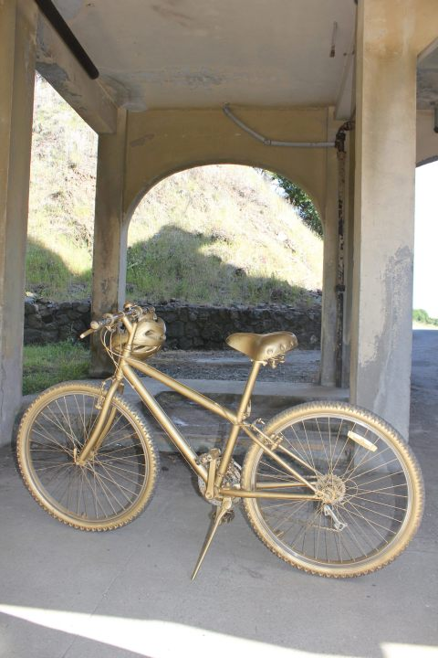 This is another mix of tangible and intangible heritage. This the golden bicycle of Hermes, the Messenger as used in the site-specific production of The Odyssey by WePlayers in 2012 on Angel Island in the SFBay. Here it rests in the old military hospital courtyard, waiting for its cue