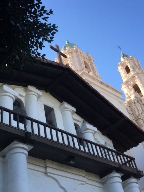 San Fransico is a somewhat obvious Heritage Site in the conventional sense, but what this picture highlights is the original belfry and replica bells of the original Spanish chapel, and the larger bell tower of the more recent 18th cent
